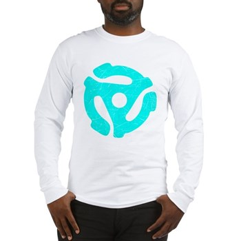 Turquoise Distressed 45 RPM Adapter Long Sleeve T-