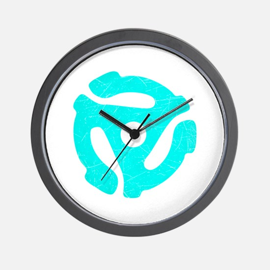 Turquoise Distressed 45 RPM Adapter Wall Clock