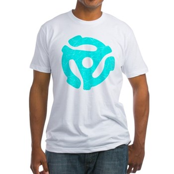 Turquoise Distressed 45 RPM Adapter Fitted T-Shirt