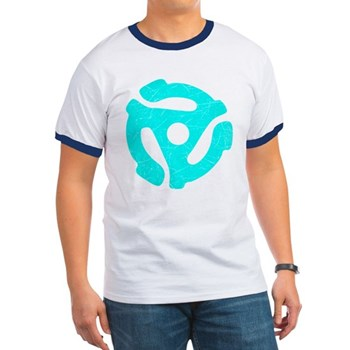 Turquoise Distressed 45 RPM Adapter Ringer T-Shirt