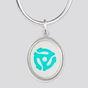 Turquoise Distressed 45 RPM Adapter Silver Oval Ne