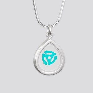Turquoise Distressed 45 RPM Adapter Silver Teardro