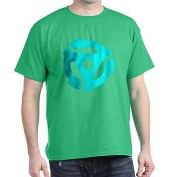 Turquoise Distressed 45 RPM Adapter Dark T-Shirt
