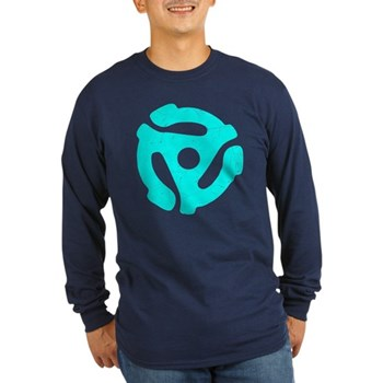Turquoise Distressed 45 RPM Adapter Long Sleeve Da