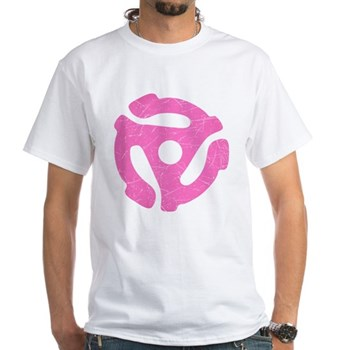 Hot Pink Distressed 45 RPM Adapter White T-Shirt