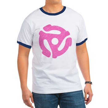 Hot Pink Distressed 45 RPM Adapter Ringer T-Shirt