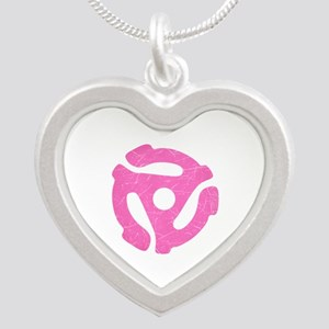 Hot Pink Distressed 45 RPM Adapter Silver Heart Ne