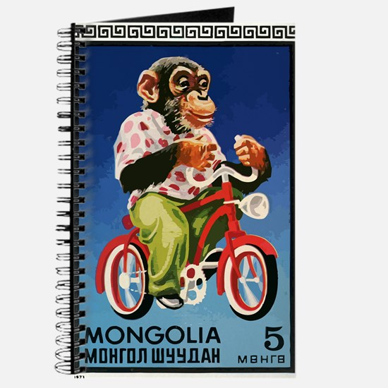 1973 Mongolia Chimp Riding Bicycle Postage Stamp J