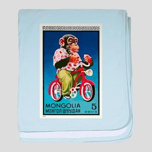 1973 Mongolia Chimp Riding Bicycle Postage Stamp b