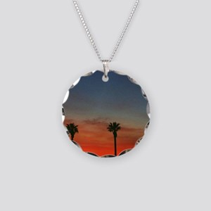 Sunset Necklace Circle Charm