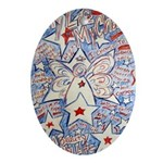 Stars and Stripes Angel Ornament (Oval)