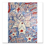 Stars and Stripes Angel Square Car Magnet 3