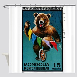1973 Mongolia Bear Riding Wheel Postage Stamp Show