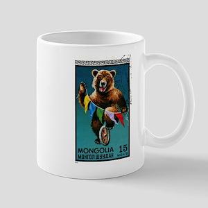1973 Mongolia Bear Riding Wheel Postage Stamp Mug