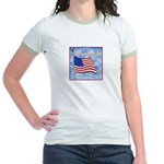 God Bless America 2 Jr. Ringer T-Shirt