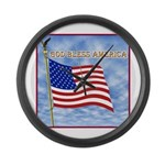 God Bless America 2 Large Wall Clock