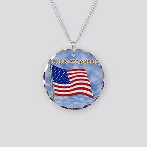 God Bless America 2 Necklace Circle Charm