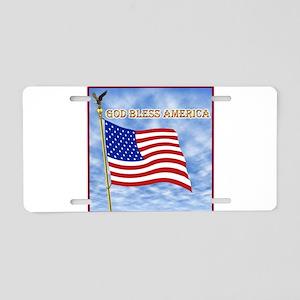 God Bless America 2 Aluminum License Plate