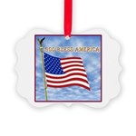 God Bless America 2 Picture Ornament