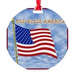 God Bless America 2 Round Ornament