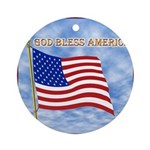 God Bless America 2 Ornament (Round)