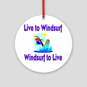 Live to Windsurf Ornament (Round)