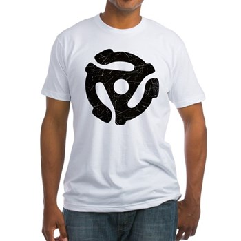 Black Distressed 45 RPM Adapter Fitted T-Shirt