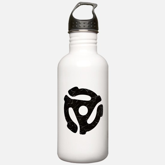 Black Distressed 45 RPM Adapter Water Bottle