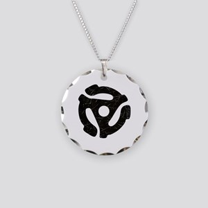 Black Distressed 45 RPM Adapter Necklace Circle Ch