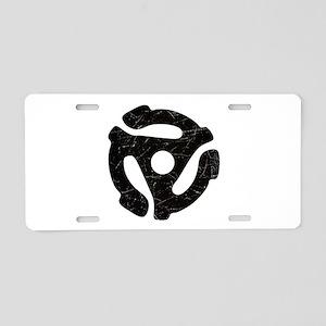 Black Distressed 45 RPM Adapter Aluminum License P