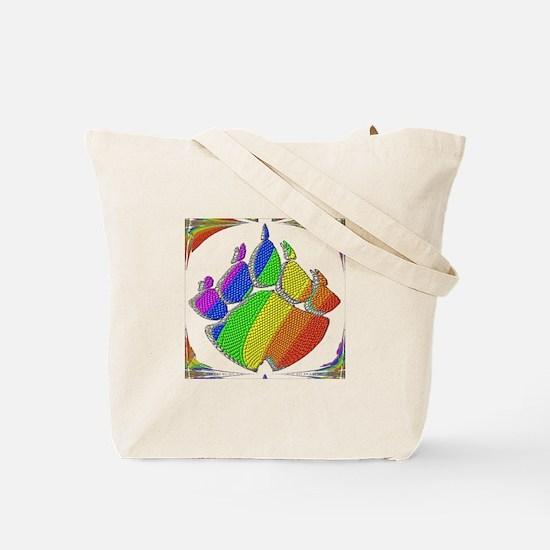 RAINBOW BEAR PAW ABSTRACT 5 Tote Bag