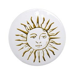 Gold Sun on White Ornament (Round)