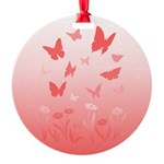 Pink Butterfly Art Round Ornament