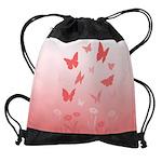 Pink Butterfly Art Drawstring Bag