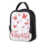 Pink Butterfly Art Neoprene Lunch Bag