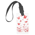 Pink Butterfly Art Large Luggage Tag