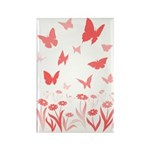 Pink Butterfly Art Rectangle Magnet (100 Magnets