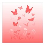 "Pink Butterfly Art Square Car Magnet 3"" x 3"""
