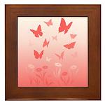 Pink Butterfly Art Framed Tile