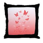 Pink Butterfly Art Throw Pillow