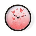Pink Butterfly Art Wall Clock