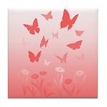 Pink Butterfly Art Tile Coaster