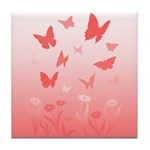 Pink Butterfly Art Tile Coaster