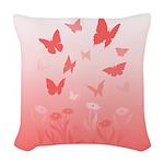 Pink Butterfly Art Woven Throw Pillow
