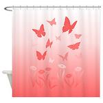 Pink Butterfly Art Shower Curtain