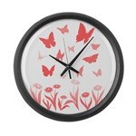 Pink Butterfly Art Large Wall Clock