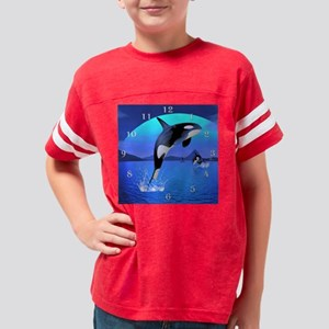 orca_modern_wall_clock_hell Youth Football Shirt