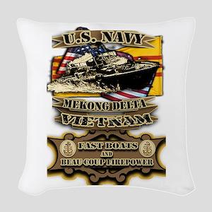 Navy Vietnam Mekong Delta Woven Throw Pillow