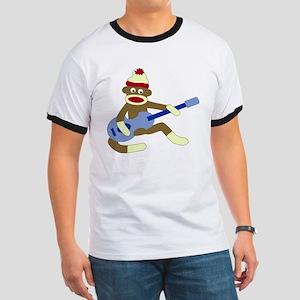 Sock Monkey Playing Blue Guitar Ringer T-Shirt