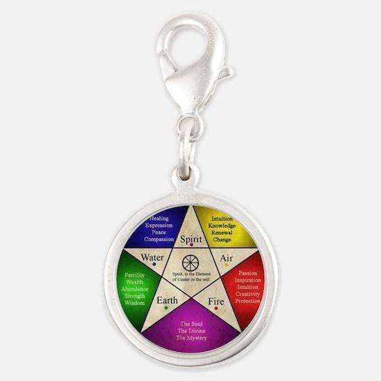 Elemental Pentagram Silver Round Charm